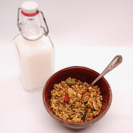 Granola en rijstmelk