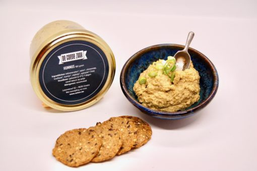 Hummus, toast en pot